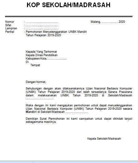 Download Contoh Surat Permohonan Menyelenggarakan UNBK Mandiri