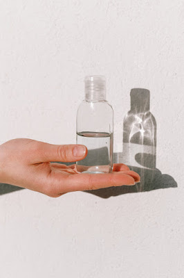 Homemade saline solution stored in clear bottle