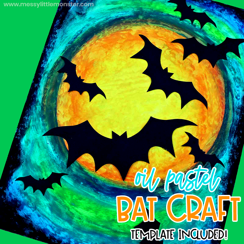 oil pastel bat craft for kids with bat template