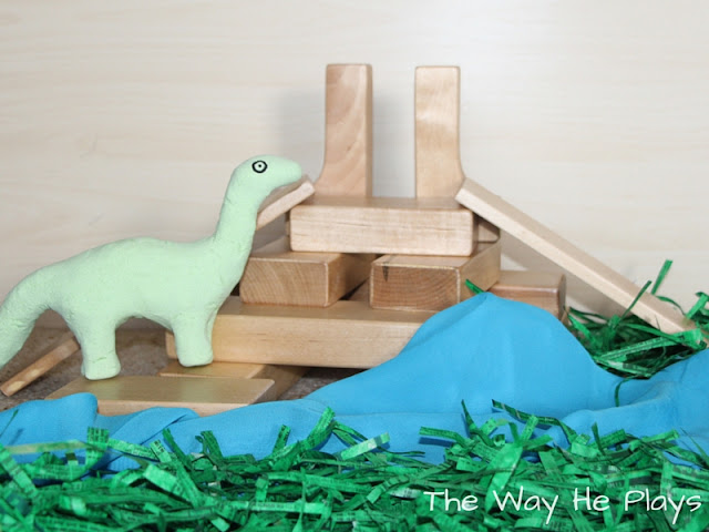 Dinosaur play silk used in small world play