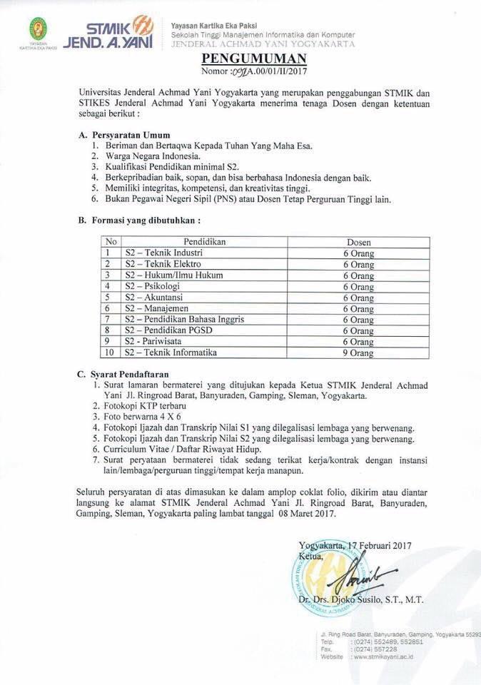 Lowongan Kerja Tenaga Dosen Universitas Jenderal Achmad