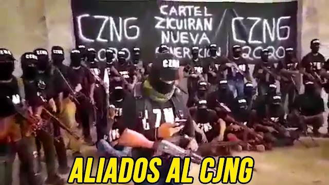 El CZNJ llegan hasta en 16 o 20 camionetas, cualquier aeronave que vuele sin permiso sera derribada dice el brazo armado del CJNG en Michoacán