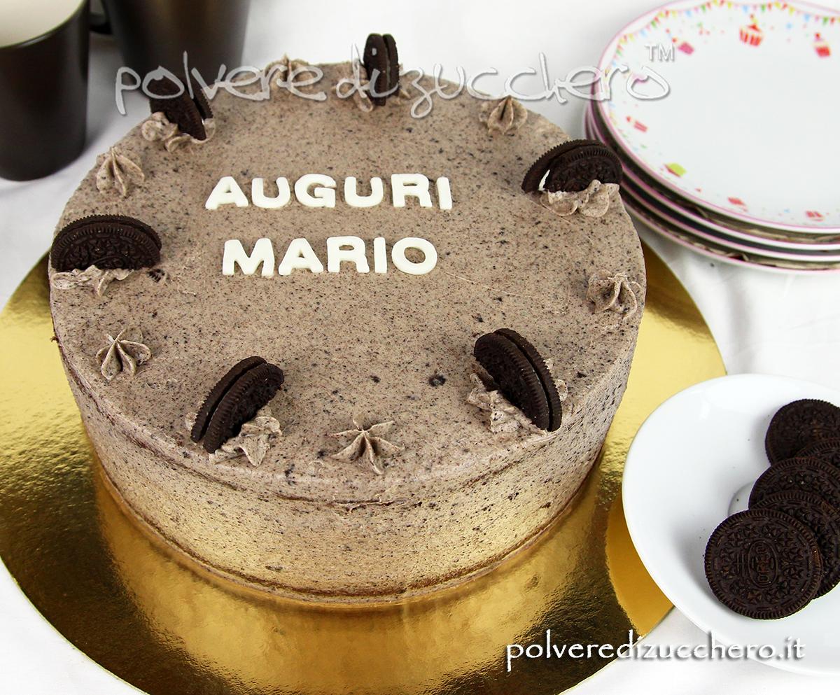 cake design torta farcita crema oreo cheese cream polvere di zucchero ricette compleanno