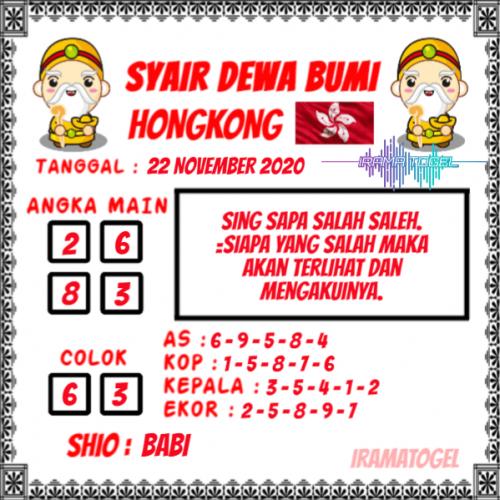 Syair HK Minggu 22 November 2020 -