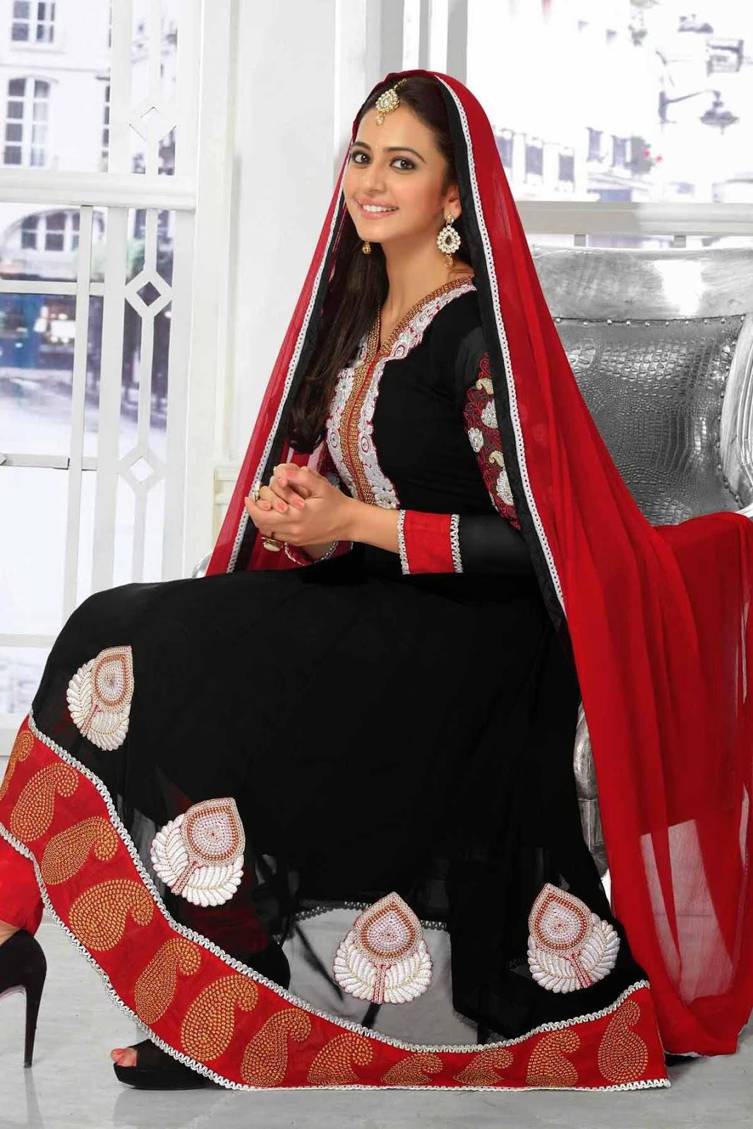 Rakul Preet Singh Black Hot Georgette Salwar Kameez