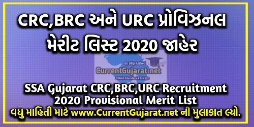 SSA Gujarat CRC,BRC,URC Recruitment 2020 Provisional Merit List