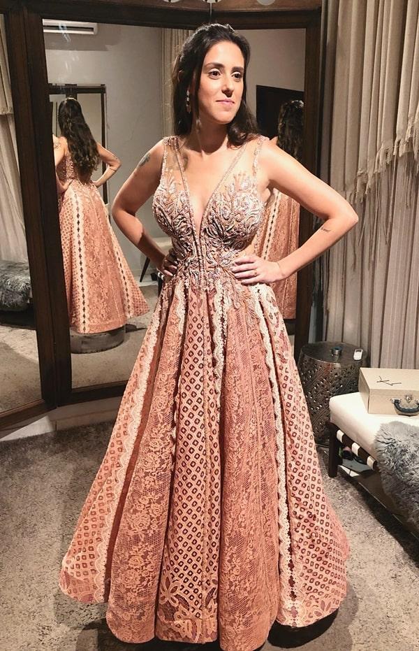 vestido de festa longo rose rendado para madrinha de casamento
