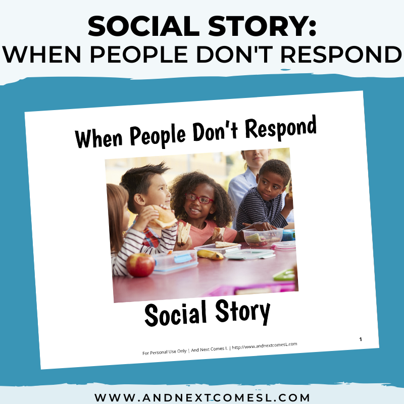 Printable social story for kids with autism about what to do when people don't respond
