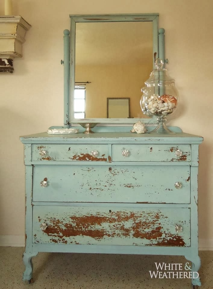 Susan Snyder END TABLE  CANDLEWAX  VASELINE PAINT DISTRESSED