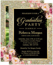 Gold Glitters Floral 2018 Photo Graduation Party Card
