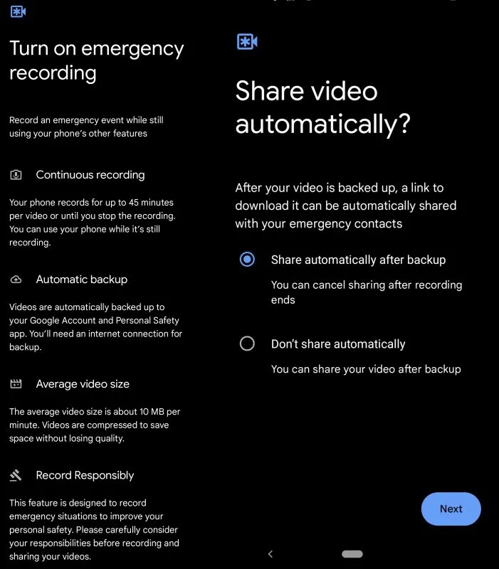 In an emergency, Pixel phones can automatically record and upload video