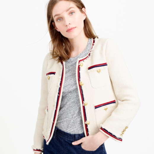 J.Crew Fringy white cotton tweed jacket with a red and blue edge and fringe detail