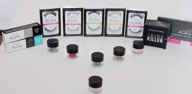 Grupna recenzija AURA proizvoda (glitteri, trepavice, puder i papirići za matiranje)