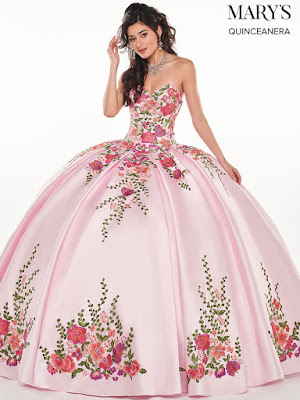 Pink/Multi Color Mary's Quinceanera Ball Gown Dress