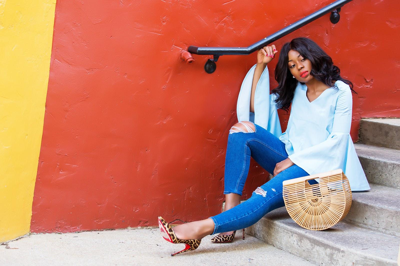 bell sleeves, skinny jeans, cult gaia bag, www.jadore-fashion.com