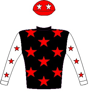 Rocketball - Silks - Black, red stars, white-sleeves, red stars, red cap, white stars - Vodacom Durban July 2016