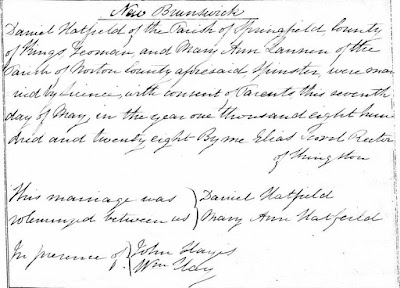 Kings, New Brunswick, Marriage Register v. A, 1812-1844, Daniel Hatfield-Mary Ann Lannen; FHL microfilm 845,798, item 1, image 163.