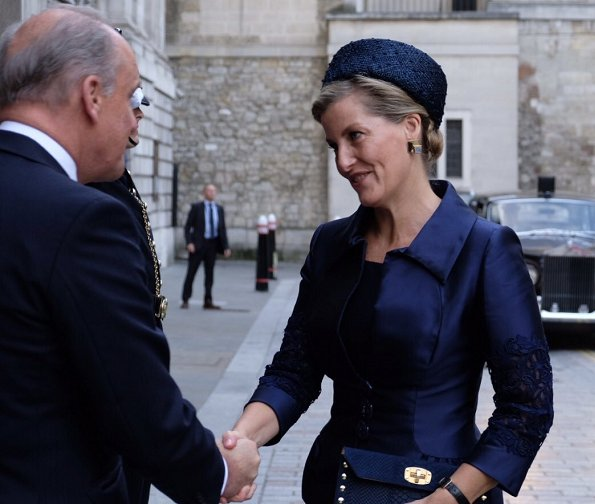 Queen Maxima wore OSCAR DE LA RENTA leaf patterned dress. Countess Sophie of Wessex wore Alexander McQueen dress