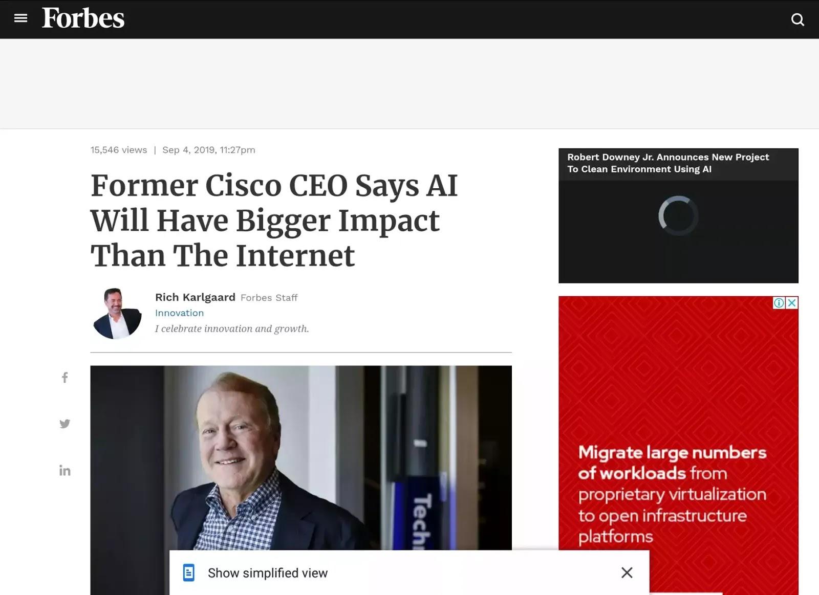 contoh konten atau artikel pada halaman majalah Forbes