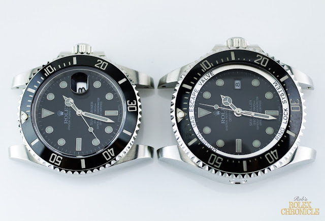 picture of Dials of rolex Submariner (left) and Deepsea (right) Side by Side