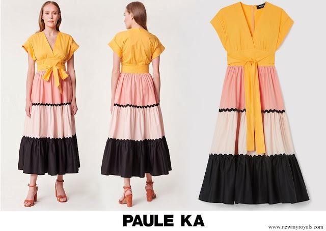 Queen Mathilde wore Paule Ka satin poplin gown