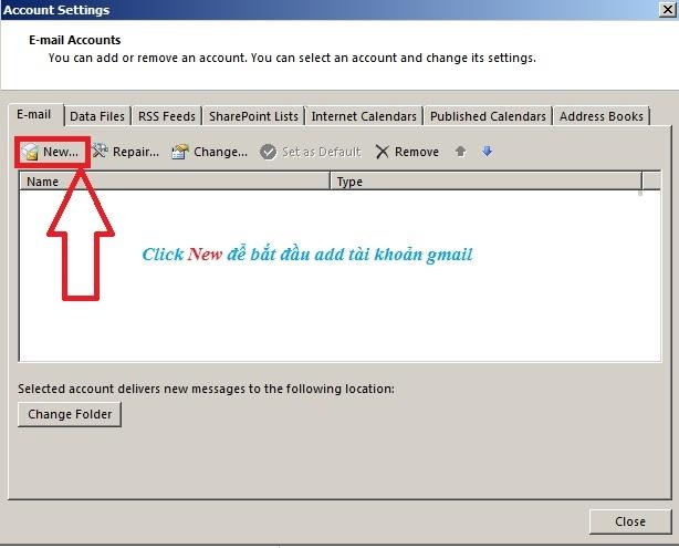 Add tài khoản gmail sử dụng Microsoft Outlook