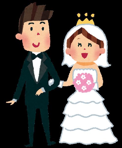 結婚式のイラスト「新郎新婦・ウェディングドレス・タキシード