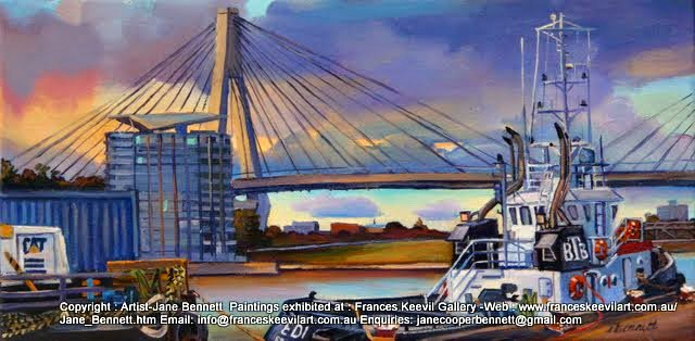 oil painting  of tug and barge at Glebe Island wharf with Jackson's Landing Pyrmont and the Anzac Bridge in the background by artist Jane Bennett