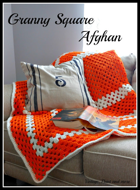 Vintage, Paint and more... crochet afghan done in the granny square pattern