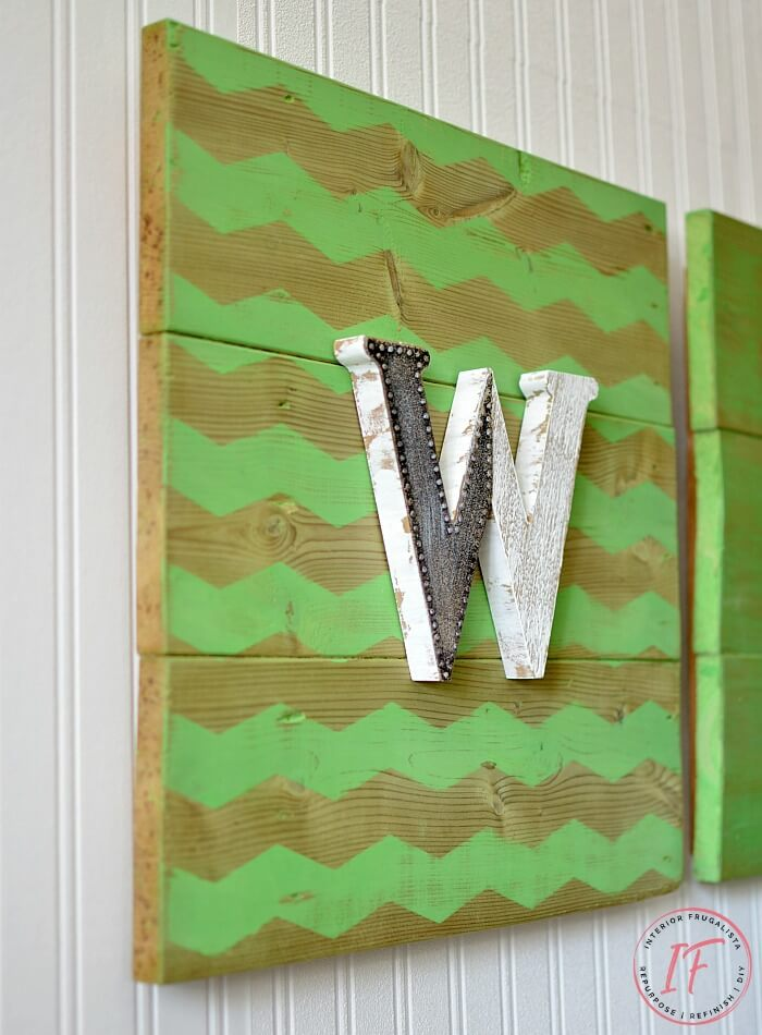 DIY Chevron Monogram Wall Art
