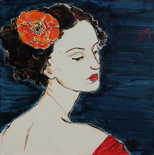 painting, Sarah Myers, contemporary art, Orange Flower, portrait