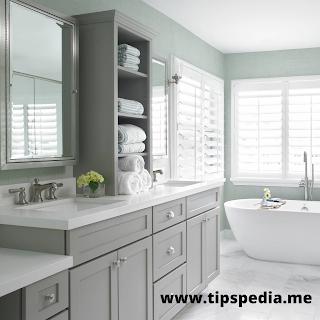 gray bathroom cabinets what color walls