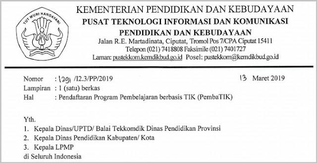 Pendaftaran Program Pembelajaran Berbasis TIK (PembaTIK) Tahun 2019
