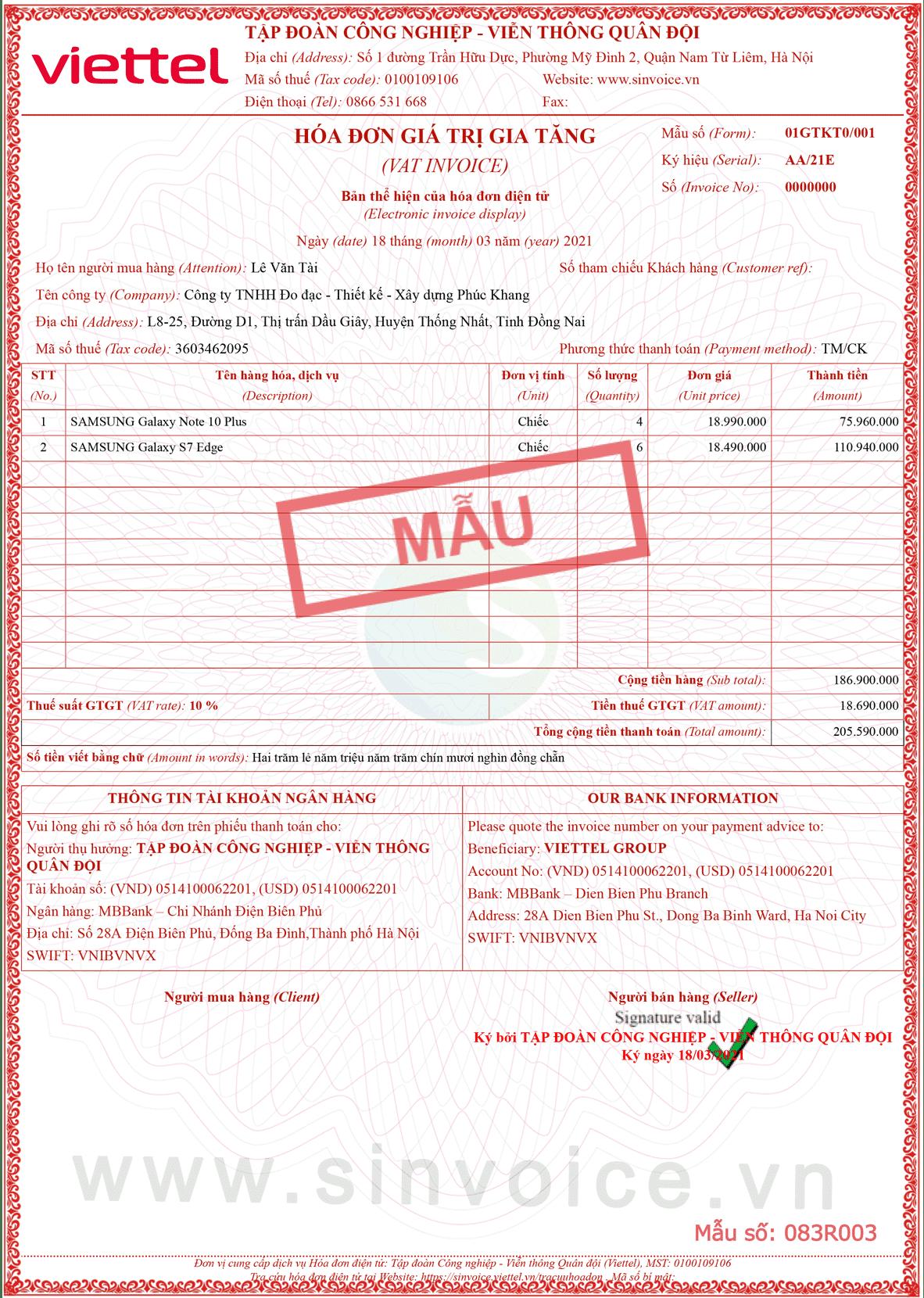 Mẫu hóa đơn điện tử số 083R003