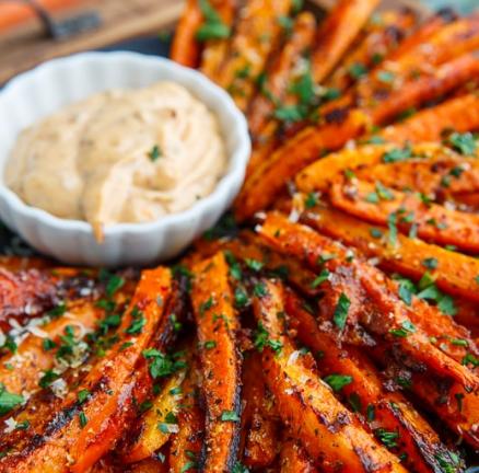 Parmesan Roasted Carrot Fries #vegetarian #parmesan #breakfast #carrot #roasted