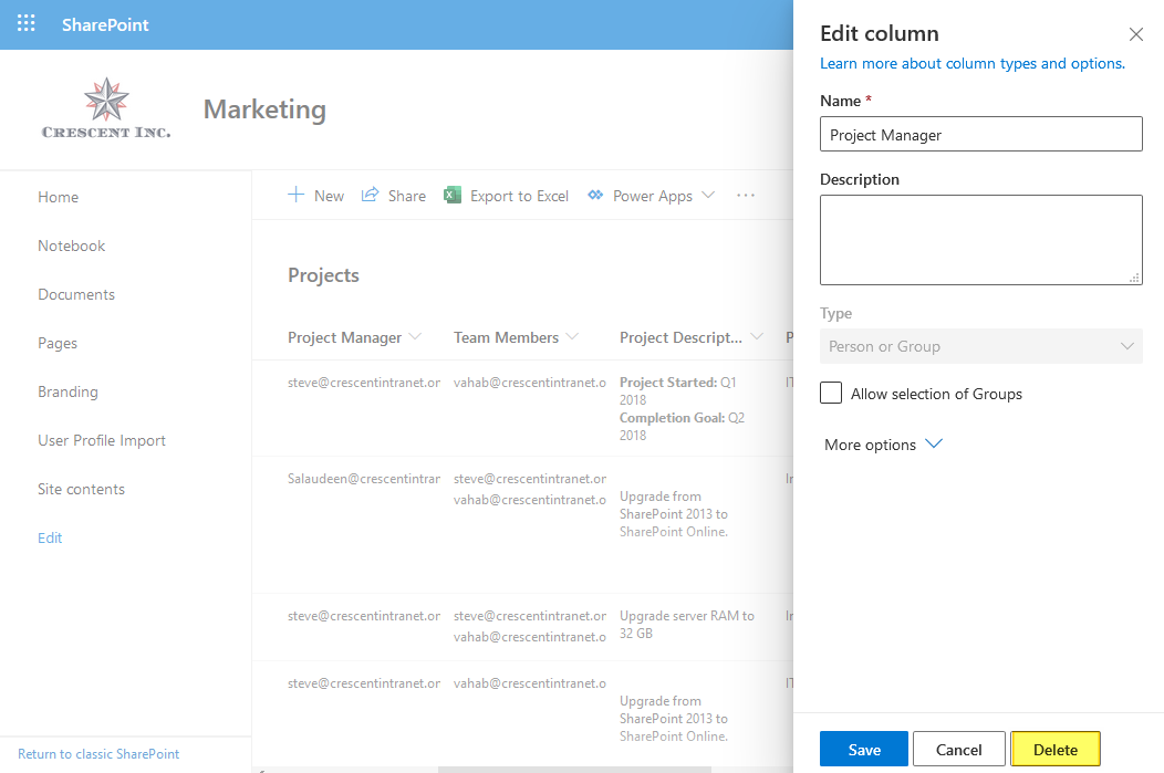 how to delete a column in a sharepoint online list