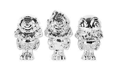 "Silver Chrome Mister Melty 3"" Figure Set by Buff Monster"