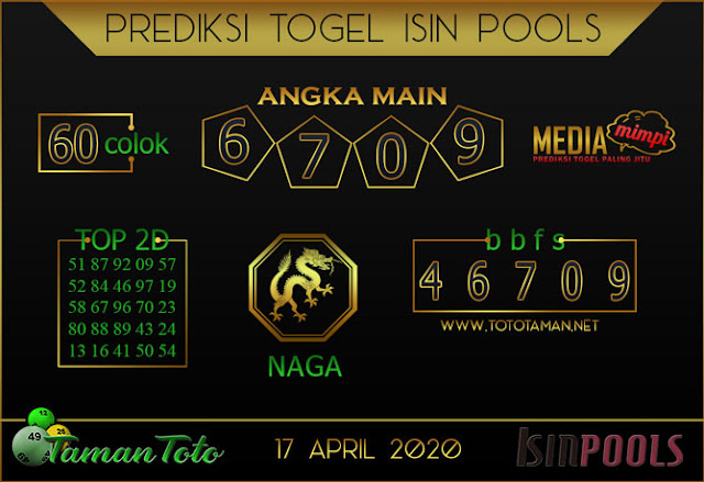 Prediksi Togel ISIN TAMAN TOTO 17 APRIL 2020