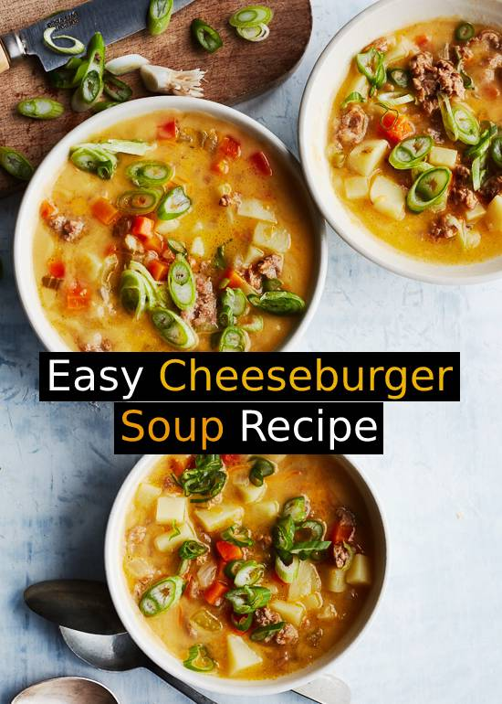This Cheeseburger Soup Recipe is a rich and cheesy bowl of comfort food made on the lighter side. It's quick and easy, loaded with turkey and potatoes in every bite! #comfortfood #cheeseburger #cheeseburgersoup #souprecipe #soup #dinnerrecipe