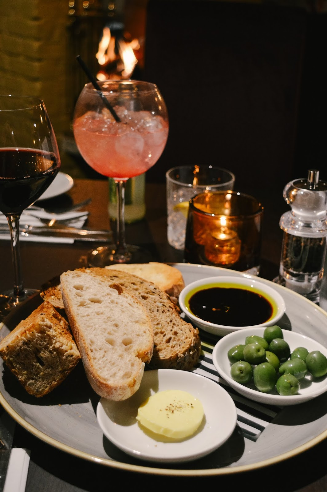 Bread and olives sharing platter