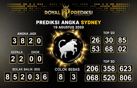 Royal Prediksi Sidney Rabu 19 Agustus 2020
