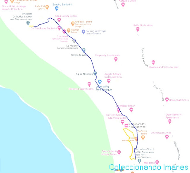 ruta a pie por Santorini