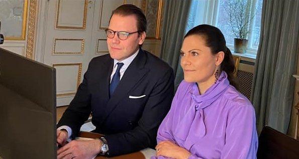 Queen Silvia, Crown Princess Victoria and Prince Daniel. Victoria wore her Greta Nellie purple silk bow tie blouse