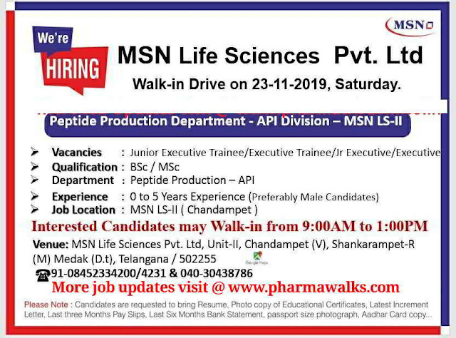 MSN Laboratories walk-in interview for Production department on 23rd Nov' 2019