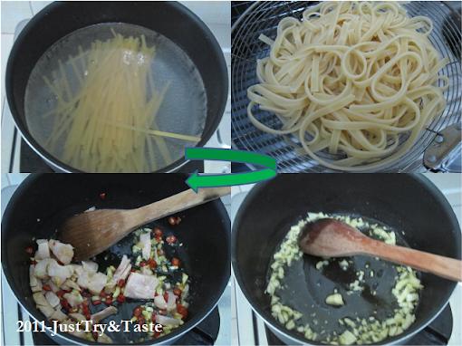 Linguini dengan Bayam Jepang, Tomat Cherry & Dada Ayam
