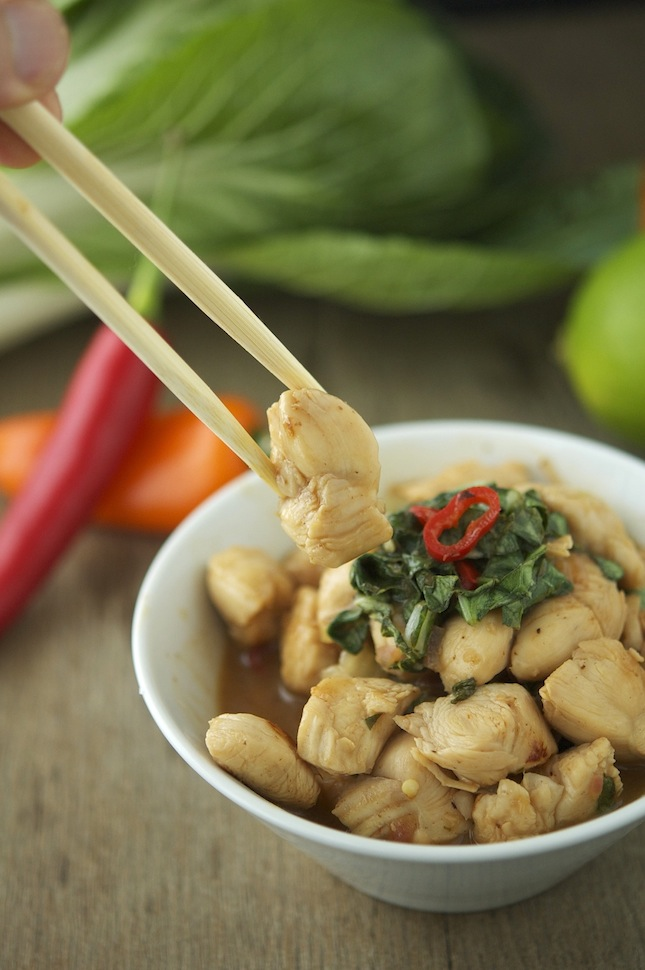 Chicken, Bok Choy and Basil Stir-Fry
