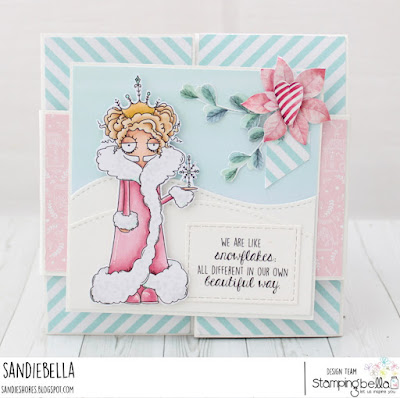 www.stampingbella.com: rubber stamp used:  ODDBALL SNOW QUEEN, card by SANDIE DUNNE