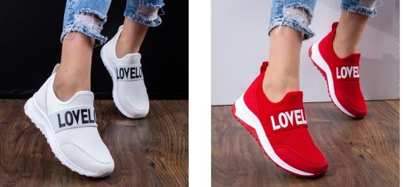 Pantofi sport rosii, albi de femei ieftini din panza