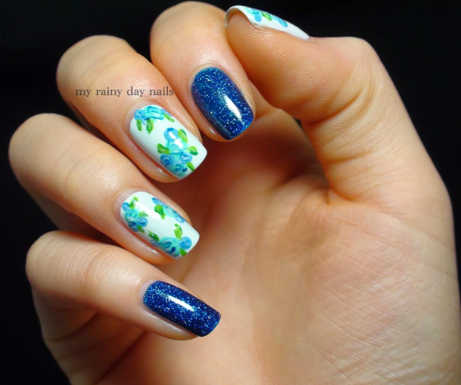 Nail Art February Challenge: My Rainy Day Nails: Nail Art Feb Challenge- Floral
