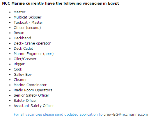 Offshore vessel vacancies in egypt - Seaman jobs | Seafarer